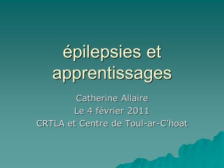 épilepsies et apprentissages