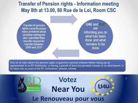 Transfer of Pension rights - Information meeting May 8th at 13.00, 80 Rue de la Loi, Room CSC Near You - Le Renouveau pour vous 1 This set of rules allows.