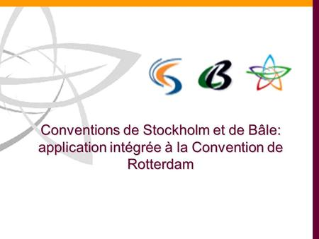 Conventions de Stockholm et de Bâle: application intégrée à la Convention de Rotterdam.
