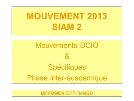 DIFFUSION EPP / MNGD Mouvements DCIO & Spécifiques Phase inter-académique Mouvements DCIO & Spécifiques Phase inter-académique.