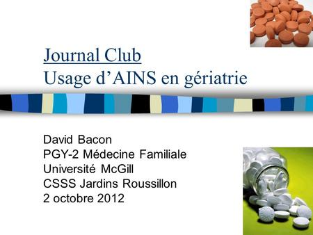Journal Club Usage d'AINS en gériatrie