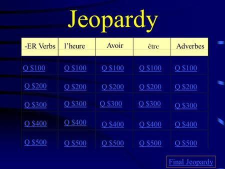 Jeopardy -ER Verbs lheure Avoir être Adverbes Q $100 Q $200 Q $300 Q $400 Q $500 Q $100 Q $200 Q $300 Q $400 Q $500 Final Jeopardy.