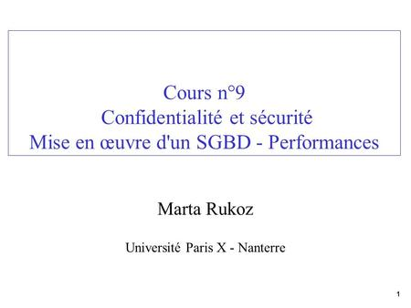 Marta Rukoz Université Paris X - Nanterre