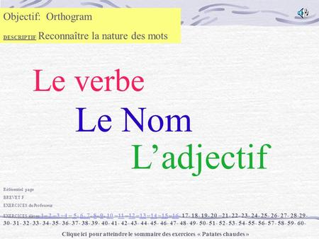 Le Nom L'adjectif Le verbe Objectif: Orthogram