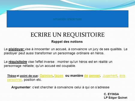 ECRIRE UN REQUISITOIRE