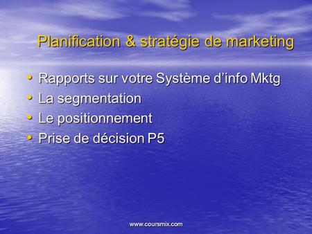 Planification & stratégie de marketing