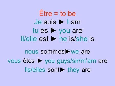 Être = to be Je suis I am tu es you are Il/elle est he is/she is nous sommeswe are vous êtes you guys/sir/mam are Ils/elles sont they are.