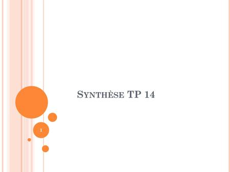 Synthèse TP 14.
