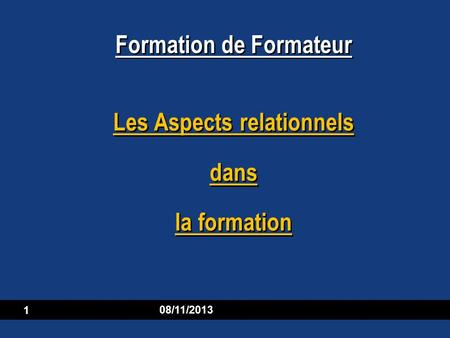 Les Aspects relationnels dans la formation