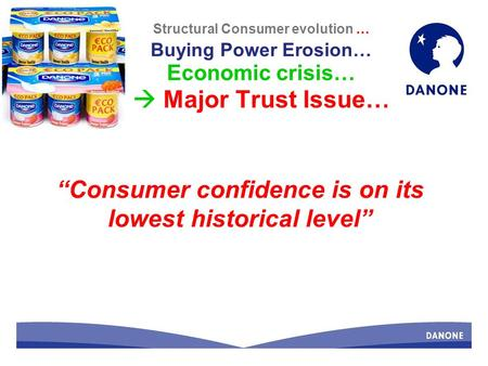 Structural Consumer evolution … Buying Power Erosion… Economic crisis… Major Trust Issue… Consumer confidence is on its lowest historical level.
