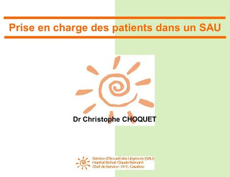 Prise en charge des patients dans un SAU Dr Christophe CHOQUET.