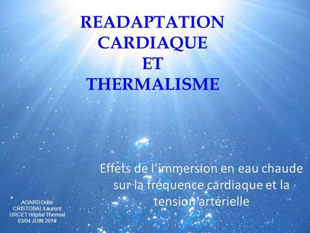 READAPTATION CARDIAQUE ET THERMALISME