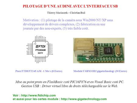 Puce FTDI FT245 AM - 1 Mo/s (8 Euros)