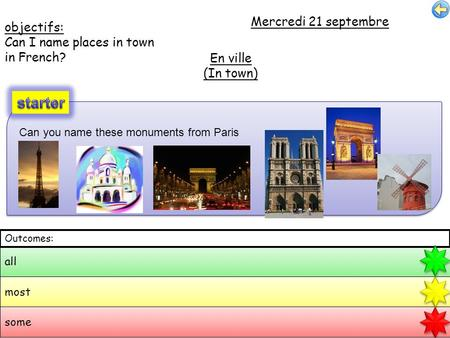 Objectifs: Can I name places in town in French? Mercredi 21 septembre En ville (In town) all most some Outcomes: Can you name these monuments from Paris.