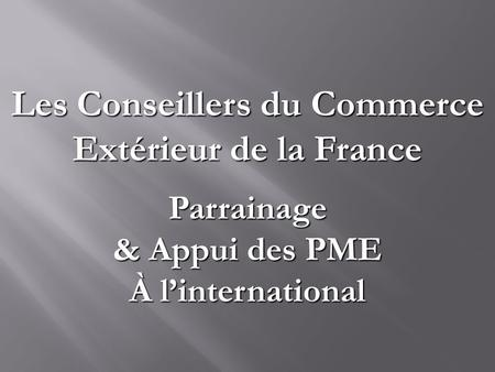 Bruno deschamps pr sident de la section uk des cce ppt for Conseiller commerce exterieur