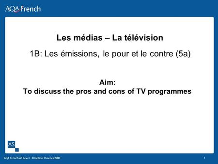 Aim: To discuss the pros and cons of TV programmes