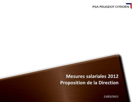 Mesures salariales 2012 Proposition de la Direction