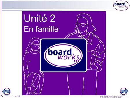 © Boardworks Ltd 2005 1 of 18. © Boardworks Ltd 2005 2 of 18 Table des matières En famille Part 1 Ma famille Subject pronouns Present tense of avoir,
