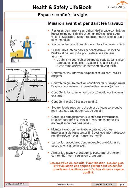 Health & Safety Life Book AM ST 002 - 005 p. 1 v.02 – March 2, 2012 Confined Space Mission avant et pendant les travaux Rester en permanence en dehors.