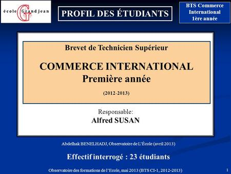 Brevet de Technicien Supérieur COMMERCE INTERNATIONAL