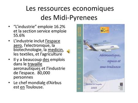 Les ressources economiques des Midi-Pyrenees Lindustrie emploie 16.2% et la section service emploie 55.6% Lindustrie inclut lespace aero, lelectronique,