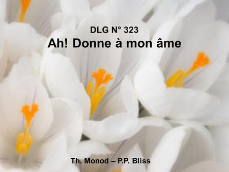 DLG N° 323 Ah! Donne à mon âme Th. Monod – P.P. Bliss.