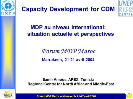 Forum MDP Maroc – Marrakech, 21-22 avril 2004 1 Capacity Development for CDM MDP au niveau international: situation actuelle et perspectives Forum MDP.