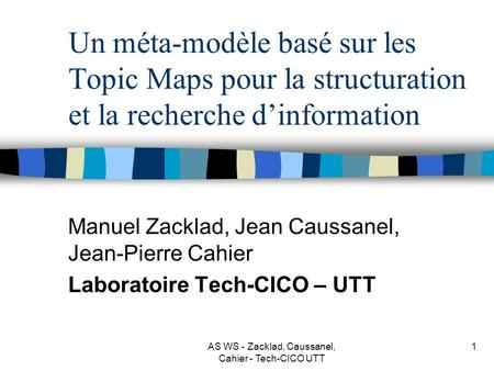 AS WS - Zacklad, Caussanel, Cahier - Tech-CICO UTT