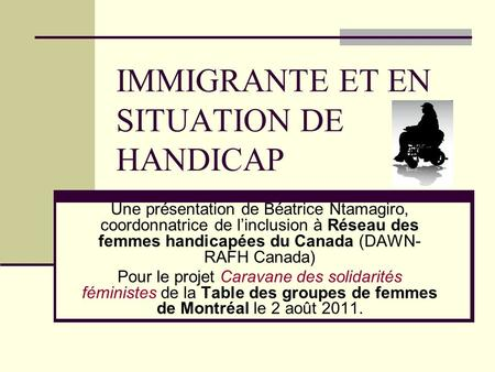 IMMIGRANTE ET EN SITUATION DE HANDICAP