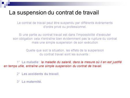 La cessation et la suspension du contrat de travail   ppt video