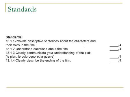 Standards Standards: 13.1.1-Provide descriptive sentences about the characters and their roles in the film.._____/4 13.1.2-Understand questions about the.
