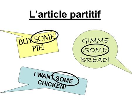 L'article partitif GIMME SOME BREAD! BUY SOME PIE!