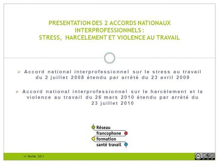 PRESENTATION DES 2 ACCORDS NATIONAUX INTERPROFESSIONNELS : STRESS, HARCELEMENT ET VIOLENCE AU TRAVAIL Accord national interprofessionnel sur le stress.