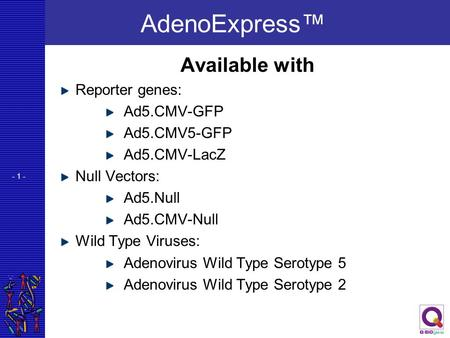 - 1 - AdenoExpress Available with Reporter genes: Ad5.CMV-GFP Ad5.CMV5-GFP Ad5.CMV-LacZ Null Vectors: Ad5.Null Ad5.CMV-Null Wild Type Viruses: Adenovirus.
