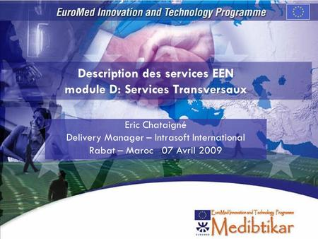 Description des services EEN module D: Services Transversaux Eric Chataigné Delivery Manager – Intrasoft International Rabat – Maroc 07 Avril 2009.