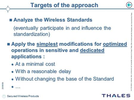 20/09/06 Secured Wireless Products Wireless Standards adaptation.