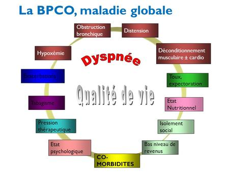 Obstruction bronchique Distension Déconditionnement musculaire ± cardio Etat psychologique Hypoxémie Isolement social Bas niveau de revenus Tabagisme Toux,