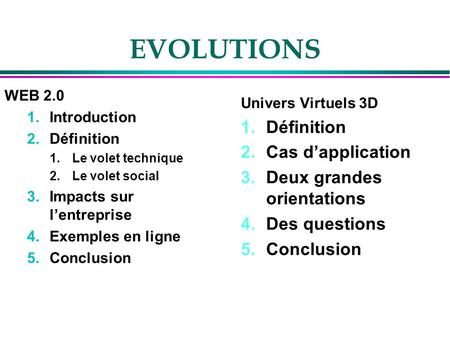 EVOLUTIONS WEB 2.0 1.Introduction 2.Définition 1.Le volet technique 2.Le volet social 3.Impacts sur lentreprise 4.Exemples en ligne 5.Conclusion Univers.