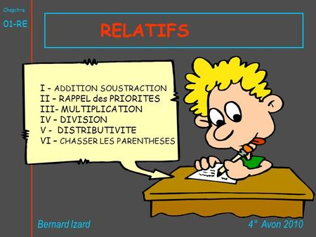 RELATIFS Bernard Izard 4° Avon RE I - ADDITION SOUSTRACTION