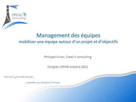 Philippe Vivier, Creac'h consulting Congrès URHSE octobre 2012