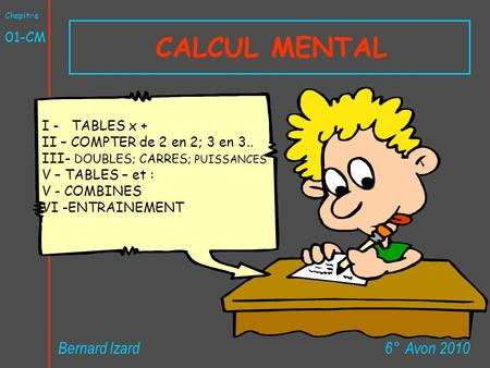 CALCUL MENTAL Bernard Izard 6° Avon CM I - TABLES x +