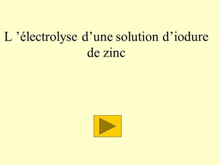 L électrolyse dune solution diodure de zinc. Électrolyse dune solution diodure de zinc Électrodes Solution diodure de zinc (II) : Zn 2+ ; 2 I - On place.