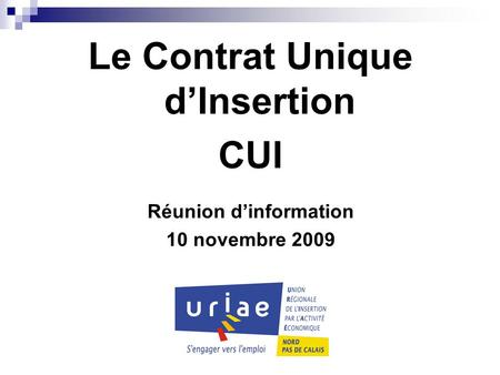 Le Contrat Unique d'Insertion Réunion d'information