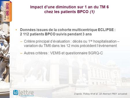 Impact dune diminution sur 1 an du TM 6 chez les patients BPCO (1) Données issues de la cohorte multicentrique ECLIPSE : 2 112 patients BPCO suivis pendant.
