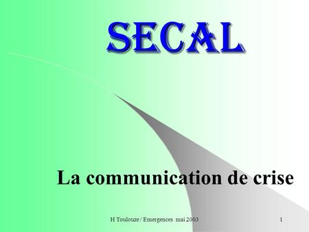 La communication de crise