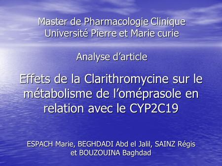 Master de Pharmacologie Clinique