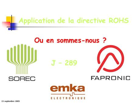Application de la directive ROHS