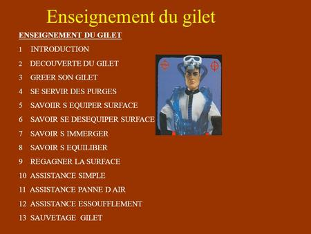 Enseignement du gilet ENSEIGNEMENT DU GILET 1 INTRODUCTION 2 DECOUVERTE DU GILET 3 GREER SON GILET 4 SE SERVIR DES PURGES 5 SAVOIIR S EQUIPER SURFACE.