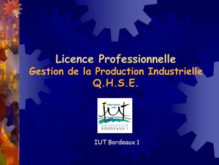 Licence Professionnelle Gestion de la Production Industrielle Q.H.S.E. IUT Bordeaux 1.