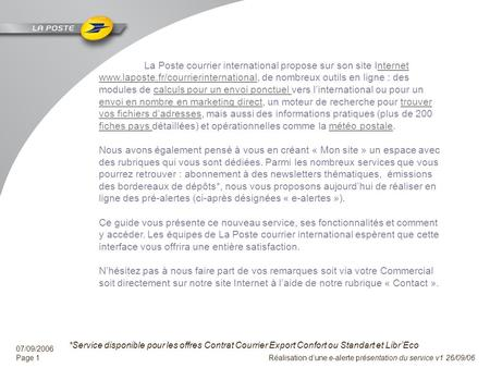 La Poste courrier international -  Contact :